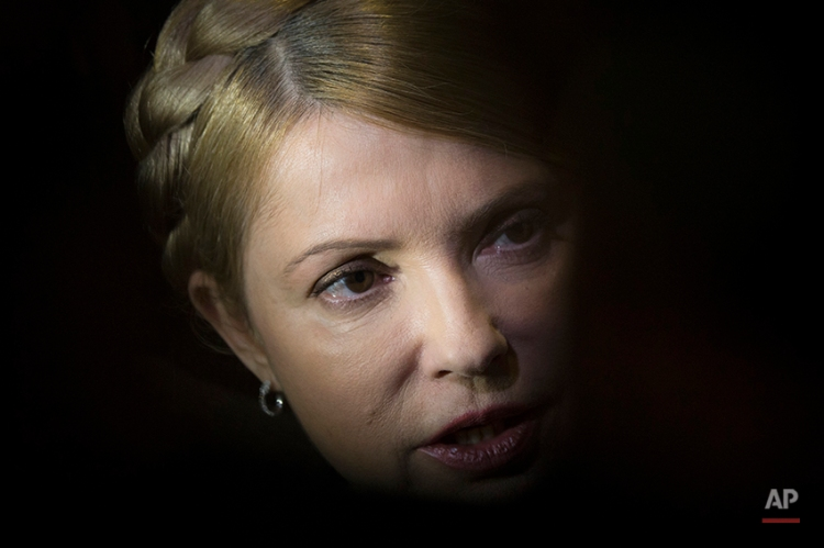 """Former prime minister and presidential hopeful Yulia Tymoshenko, speaks to journalists after her press conference in Donetsk, Ukraine, Friday, April 18, 2014. Tymoshenko arrived Friday in Donetsk in a bid to defuse the tensions and hear """"the demands of Ukrainians who live in Donetsk.""""(AP Photo/Alexander Zemlianichenko)"""