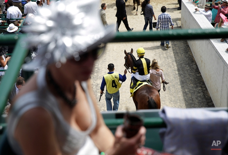 A race horse is lead out to the track for a race before the 140th running of the Kentucky Derby horse race at Churchill Downs Saturday, May 3, 2014, in Louisville, Ky. (AP Photo/David Goldman)