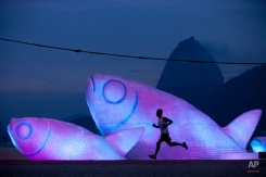 A man runs on Botafogo beach near a huge sculpture made from plastic bottles, backdropped by a silhouette of Sugarloaf mountain in Rio de Janeiro, Brazil, in the early morning hours of Wednesday, June 20, 2012. The city is host to the United Nations Conference on Sustainable Development, or Rio+20, which runs through June 22. (AP Photo/Felipe Dana)