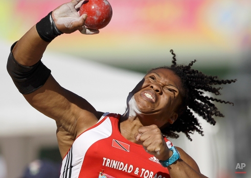 Trinidad and Tobago's Cleopatra Borel makes a throw during the women's shot put finals of the athletics competition at the Pan American Games in Guadalajara, Mexico, Thursday, Oct. 27, 2011. Borel won the silver medal. (AP Photo/Julie Jacobson)