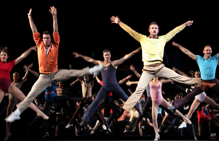 """Performers dance during a preview of American Broadway musical """"A Chorus Line"""" at the Marina Bay Sands Theatre on Friday May 4, 2012 in Singapore. (AP Photo/Wong Maye-E) License this photo"""