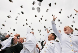 Graduates toss their hats at the end of the United States Naval Academy graduation ceremony attended by President Barack Obama, Friday, May 22, 2009, in Annapolis, Md. (AP Photo/Charles Dharapak)
