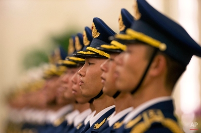 Members of a Chinese honor guard prepares for a welcome ceremony for Peru's President Ollanta Humala inside the Great Hall of the People in Beijing, China, Wednesday, Nov. 12, 2014. (AP Photo/Ng Han Guan)