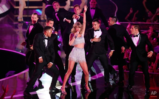 Taylor Swift performs at the MTV Video Music Awards at The Forum on Sunday, Aug. 24, 2014, in Inglewood, Calif. (Photo by Matt Sayles/Invision/AP)