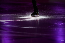 Javier Fernandez, from Spain, performs during the exhibition show at the Grand Prix Final figure skating competition in Barcelona, Spain, Sunday, Dec. 14, 2014. (AP Photo/Manu Fernandez)