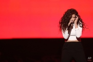 Lorde performs at the 42nd annual American Music Awards at Nokia Theatre L.A. Live on Sunday, Nov. 23, 2014, in Los Angeles. (Photo by Matt Sayles/Invision/AP)