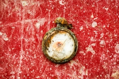This photo taken on Dec. 17, 2014, shows a pocket watch found during the exhumation of a mass grave of those killed by their political ideology during and after the Spanish civil war at the Puerto Real cemetery is displayed to be pictured by the photographer in Puerto Real, Spain. (AP Photo/Daniel Ochoa de Olza)