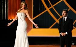 Sofia Vergara, left, and Television Academy CEO Bruce Rosenblum speak on stage at the 66th Annual Primetime Emmy Awards at the Nokia Theatre L.A. Live on Monday, Aug. 25, 2014, in Los Angeles. (Photo by Chris Pizzello/Invision/AP)