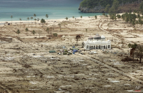 In this Jan. 30, 2005 photo, an aerial view shows the Rahmatullah Lampuuk mosque in the village of Lhoknga, near Banda Aceh, Indonesia. (AP Photo/Greg Baker)