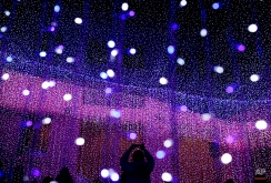 A man uses a smartphone to take pictures of light installation at a shopping mall for the Christmas season in Beijing, China Sunday, Dec. 7, 2014. (AP Photo/Andy Wong)