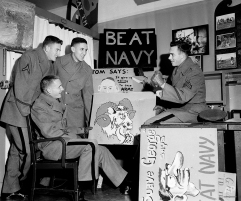 There is no doubt about which team these cadets will be rooting for when Army meets Navy in the gridiron battle in Philadelphia. Shown at the U.S. Military Academy in West Point on Nov. 23, 1954 are, from left: Joe Sanders of Cullman, Ala.; Stan Harvill of Gatlinburg, Tenn.; Jack Slaney of Chicago, Ill.; and Frank Donald of Selma, Ala. (AP Photo/Harry Harris)