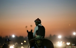 Exercise rider Willie Delgado and California Chrome wait for the track to open during morning workouts ahead of the Breeders' Cup Classic horse race at Santa Anita Park Tuesday, Oct. 28, 2014, in Arcadia, Calif. (AP Photo/Jae C. Hong)