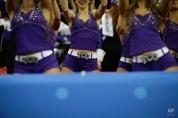 TCU cheerleaders perform during the first half of the Peach Bowl NCAA football game, Wednesday, Dec. 31, 2014, in Atlanta. (AP Photo/David Goldman)