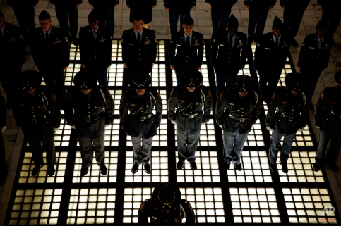 An honor guard stands at attention as Georgia Gov. Nathan Deal, not pictured, arrives following an inaugural ceremony to begin his second term in office, Monday, Jan. 12, 2015, in Atlanta. (AP Photo/David Goldman)