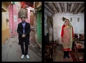 This combination of two images taken on Monday, Jan. 12, 2015, shows Pakistani Tahir Abbas, 26, posing for a picture in Rawalpindi, Pakistan. (AP Photo/Muhammed Muheisen)