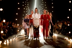 Models wear creations from Dutch designer Esther Dorhout Mees 2015 collection, presented during Mercedes-Benz Amsterdam Fashion Week, Netherlands, Monday, Jan. 26, 2015. (AP Photo/Peter Dejong)