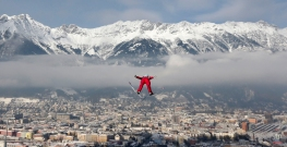 Norway's Anders Jacobsen soars during the trial jump at the third stage of the four hills ski jumping tournament in Innsbruck, Austria, Saturday, Jan. 3, 2015. (AP Photo/Matthias Schrader)