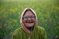 An elderly Indian village woman smiles at the camera near a mustard field on the outskirts of Hamirpur, in the northern Indian state of Uttar Pradesh, Wednesday, Dec. 31, 2014. (AP Photo/ Rajesh Kumar Singh)