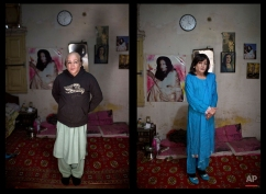 This combination of two images taken on Thursday, Jan. 8, 2015, shows Pakistani Arfeen Nasar, 49, posing for a picture at his place in Rawalpindi, Pakistan. (AP Photo/Muhammed Muheisen)