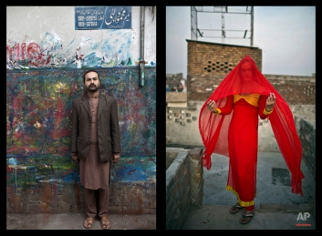 This combination of two images taken between Friday, Jan. 9, 2015 and Saturday, Jan. 10, 2015, shows Pakistani Waseem Akram, 27, posing for a picture in Rawalpindi, Pakistan. By day, Akram sells mobile phone accessories from an alleyway shop in an old neighborhood of this Pakistani city. (AP Photo/Muhammed Muheisen)
