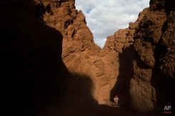 Honda rider Paulo Goncalves, from Portugal, races through the Canyons during the eleventh stage of the Dakar Rally between the cities of Salta and Termas de Rio Hondo, Argentina, Thursday, Jan. 15, 2015. The race returned to Argentina after passing through Bolivia and Chile and will finish on Jan. 17 in Buenos Aires. (AP Photo/Felipe Dana)
