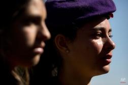 Israeli soldiers cry during the funeral of Major Yochai Kalangel in Jerusalem, Thursday, Jan. 29, 2015. (AP Photo/Sebastian Scheiner)