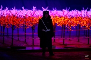 A security guard stands in front of lights set up as part of an ice carvings festival held inside the Worker's Stadium in Beijing, Wednesday, Jan. 14, 2015. (AP Photo/Ng Han Guan)