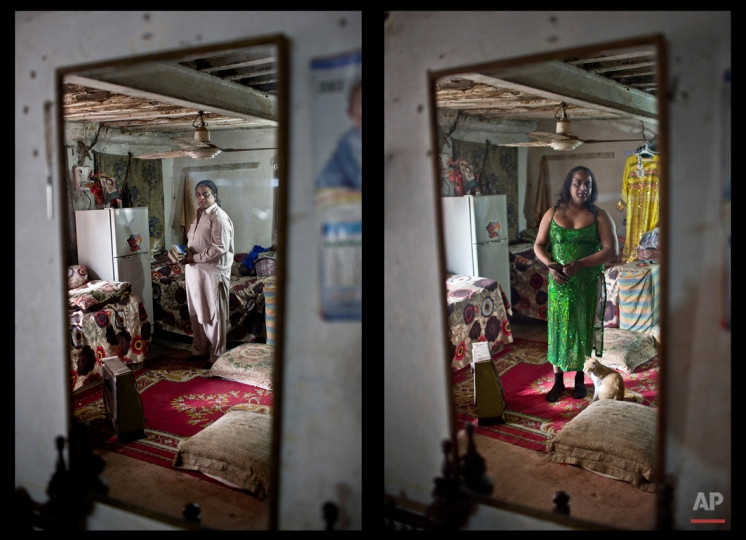 This combination of two images taken between Thursday, Jan. 8, 2015 and Monday, Jan. 12, 2015, shows Pakistani Amjad Mahmoud, 44, reflected in a mirror while posing for a picture at his place, in Rawalpindi, Pakistan. (AP Photo/Muhammed Muheisen)