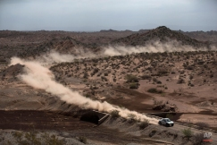 X-Raid driver Guerlain Chicherit and co-pilot Alexandre Winocq, both of France, race during the third stage of the Dakar Rally 2015 between the cities of San Juan and Chilecito, Argentina, Tuesday, Jan. 6, 2015. (AP Photo/Felipe Dana)