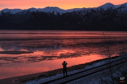 A man stands on Alaska Railroad tracks to photograph the sunset over Cook Inlet on Saturday, Dec. 27, 2014, in Anchorage, Alaska. Anchorage's mild temperatures continued Saturday with a high of 32 degrees. (AP Photo/Dan Joling)