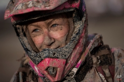 Yamaha quad rider Camelia Liparoti, from France, arrives to the Uyuni camp after completing the seventh stage of the Dakar Rally 2015 between Iquique, Chile, and Uyuni, Bolivia, Sunday, Jan. 11, 2015. The race will finish on Jan. 17, passing through Bolivia and Chile before returning to Argentina where it started. (AP Photo/Felipe Dana)
