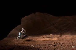 KTM David Pabiska races through the Canyons during the eleventh stage of the Dakar Rally 2015 between the cities of Salta and Termas de Rio Hondo, Argentina, Thursday, Jan. 15, 2015. The race returned to Argentina after passing through Bolivia and Chile and will finish on Jan. 17 in Buenos Aires. (AP Photo/Felipe Dana)