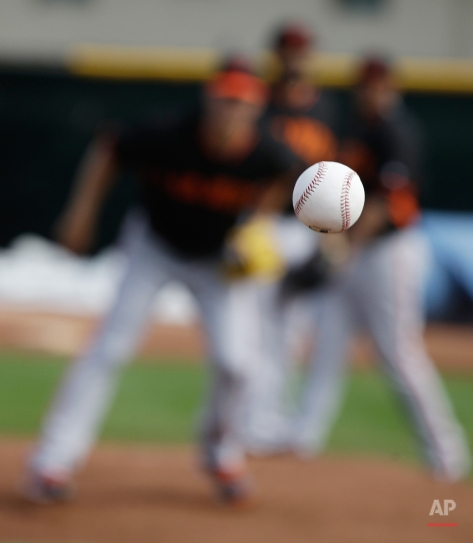 A San Francisco Giants pitcher waits for a ground ball during a drill in spring training baseball practice, Thursday, Feb. 19, 2015, in Scottsdale, Ariz. (AP Photo/Darron Cummings)