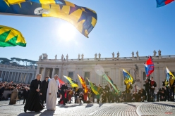 Pope Francis arrives for his weekly general audience in St. Peter's Square, at the Vatican, Wednesday, Feb. 11, 2015. (AP Photo/Andrew Medichini)