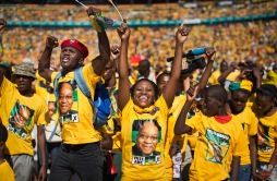 Excited supporters cheer for South African President Jacob Zuma at a final African National Congress (ANC) election rally in the Soweto township of Johannesburg, South Africa Sunday May 4, 2014. (AP Photo/Ben Curtis)