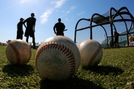 In this photo taken with a fisheye lens Pittsburgh Pirates catchers wait their turn in the batting cage during an informal spring training workout in Bradenton, Fla., Tuesday, Feb. 17, 2015. (AP Photo/Gene J. Puskar)