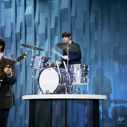 The Beatles Ringo Starr plays drums on the Ed Sullivan show in 1964. (AP Photo)