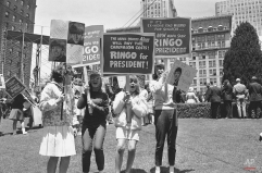 San Franciscans who thought who they had enough on their hands with the Republican convention sustained a staggering blow, July 13, 1964 when these youngsters paraded through town rallying for Ringo Starr, one of Britain's Beatles. (AP Photo)