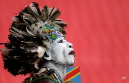 A Congolese soccer fan waits for the start of the African Cup of Nations semifinal soccer match between Congo and Ivory Coast in Bata, Equatorial Guinea, Wednesday, Feb. 4, 2015. (AP Photo/Themba Hadebe)