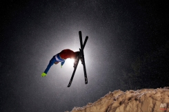 Pavel Krotov, of Russia, trains for the men's freestyle World Cup aerials, Friday, Jan. 30, 2015, in Lake Placid, N.Y. (AP Photo/Mel Evans)