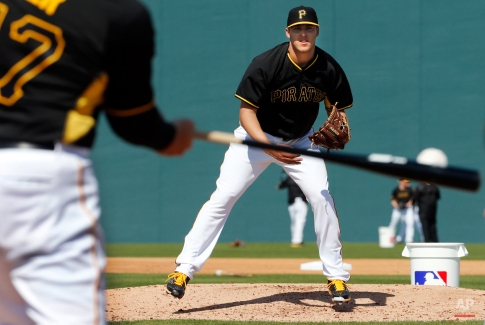 Pittsburgh Pirates pitcher Jameson Taillon prepares to field a come backer to the mound during a spring training baseball workout in Bradenton, Fla., Sunday, Feb. 22, 2015. (AP Photo/Gene J. Puskar)