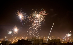 Houthi Shiite rebels and their supporters release fireworks after Shiite rebels announced that they have taken over the country and dissolved parliament in Sanaa, Yemen, Friday, Feb. 6, 2015. Yemen's powerful Shiite rebels announced on Friday that they have taken over the country and dissolved parliament, a dramatic move that finalizes their monthslong power grab. (AP Photo/Hani Mohammed)