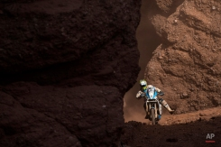 KTM rider Milan Engel of Czech Republic races through the Canyons during the eleventh stage of the Dakar Rally 2015 between the cities of Salta and Termas de Rio Hondo, Argentina, Thursday, Jan. 15, 2015. (AP Photo/Felipe Dana)