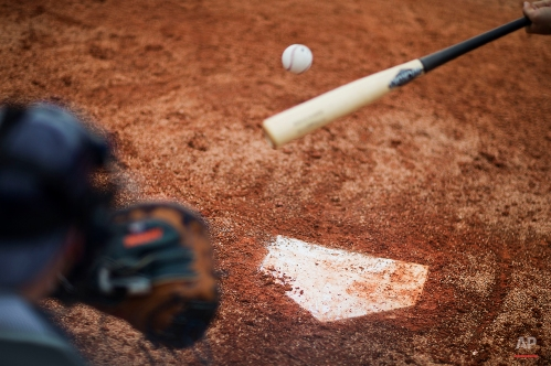 Home plate is seen as Houston Astros' Preston Tucker swings at a pitch in front of catcher Jason Castro during a spring training baseball workout, Thursday, Feb. 26, 2015, in Kissimmee, Fla. (AP Photo/David Goldman)