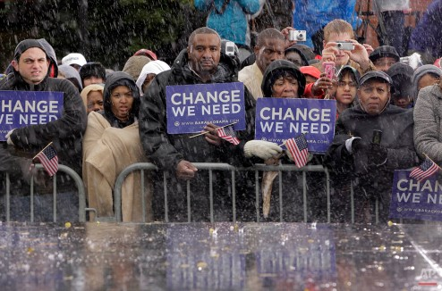 Supporters listen to Democratic presidential candidate Sen. Barack Obama, D-Ill. at a rally in Chester, Pa. on Oct. 28, 2008. (AP Photo/Jae C. Hong)