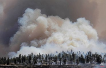 Smoke rises from a burnout fire as firefighters battle the Wallow Fire in the Apache-Sitgreaves National Forest, Ariz., June 12, 2011. Roughly 7,000 residents of two eastern Arizona towns evacuated as a wildfire loomed nearby were allowed to return home as officials expressed confidence that they were making progress in their battle against the huge blaze. (AP Photo/Jae C. Hong)