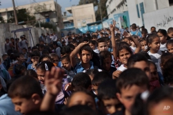 Palestinian children leave school for the day in Gaza City, May 5, 2012. (AP Photo/Bernat Armangue)