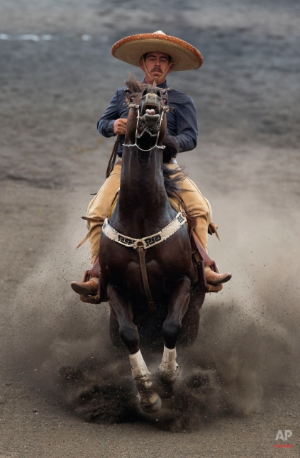 In this March 1, 2015 photo, a charro reins his horse to bring it to a sliding stop from a gallop, during the reining event in which a rider is judged on his horse control skills, including turning and stopping the horse on its hind legs and walking his horse backwards and sideways, during a charreada in Mexico City. (AP Photo/Rebecca Blackwell)