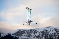 Australia's Lydia Lassila competes during the women's freestyle skiing aerials qualifying at the Rosa Khutor Extreme Park, at the 2014 Winter Olympics, Feb. 14, 2014, in Krasnaya Polyana, Russia. (AP Photo/Jae C. Hong)