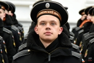 Russian Black Sea fleet sailors take part in a military parade in Sevastopol, Crimea, on Wednesday, March 18, 2015. Russia on Wednesday marked the one year anniversary of the annexation of Ukraine's Crimea peninsula. (AP Photo/Alexander Polegenko)